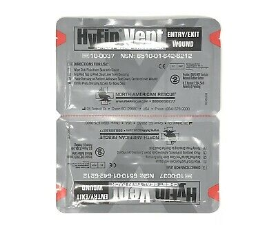 North American Rescue Hyfin Vent Chest Seal Twin Pack Brand New - Exp 2023