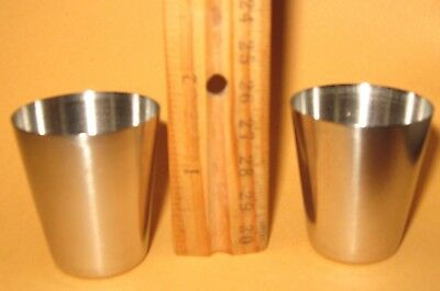 set of 2 STAINLESS STEEL SHOT GLASSES or cups 1½ inches tall - nice shiny metal