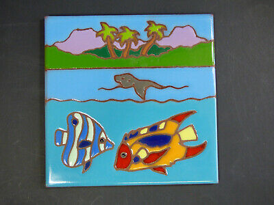 "Ceramic Art Tile 6""x6"" Colorful Fish Seal Ocean Beach with Palm Trees NEW M69"