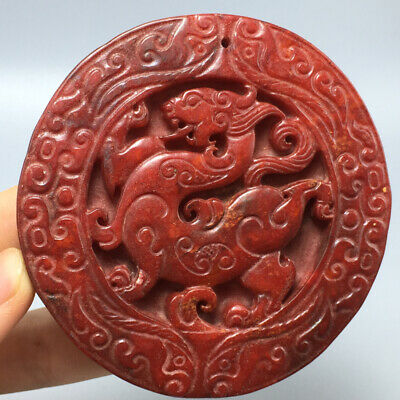 120g Chinese old natural jade Hand-Carved statue dragon pendant 92