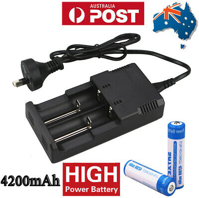 2x 4200mAh 18650 Rechargeable Battery NI-MH 3.7V Recharge Batteries And Charger