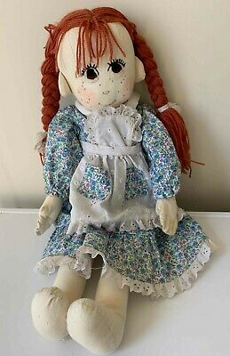 Vintage hand made 57cms rag doll with dress, apron and bloomers red hair