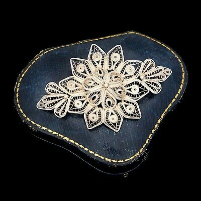 Antique Vintage Victorian Sterling 800 Silver Portuguese Cannetille Pin Brooch
