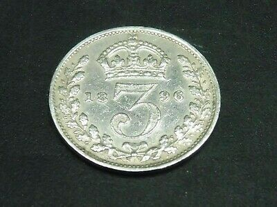 Victoria Veil Head 1896 Silver Three Pence Coin $1 START