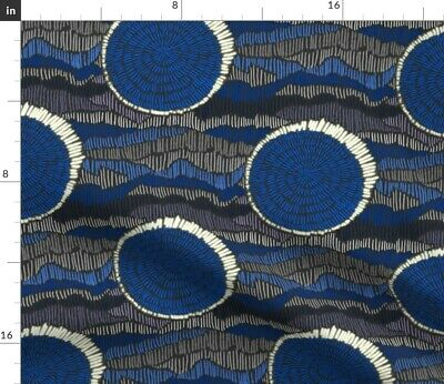 Solar Eclipse Moon Sun Abstract Cobalt Blue Fabric Printed by Spoonflower BTY