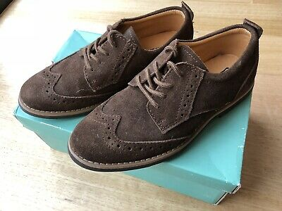 Clarks Boys Choc Brown Suede Leather Shoes Size 33