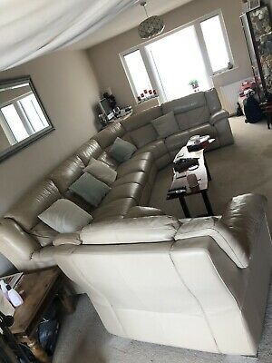 Large 2,3,4 Or More Seater Sofa Taupe Leather Matching Pouffe & Chair BARGAIN