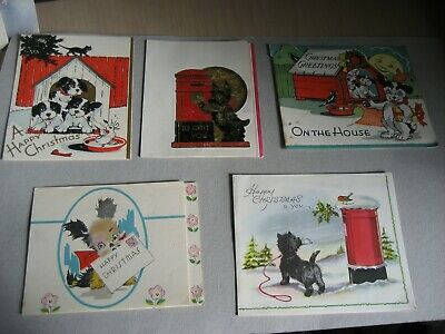5 x  Vintage 1950's Christmas Cards - dogs