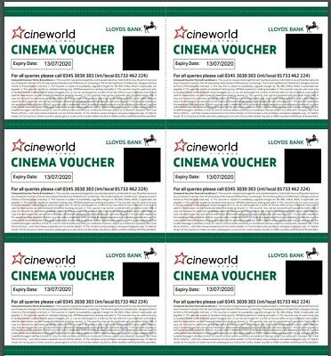 6 x Cineworld Cinema Tickets Club Lloyds Expiry 13/07/2020 Email Delivery