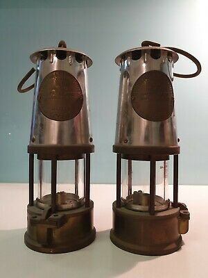 2 Vintage Brass Steel Miners Lamp Eccles Protector Lamp Type SL M&Q Safety Lamp