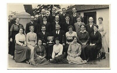 Early 20th Century Group Photo Men & Women with Trophy 341P