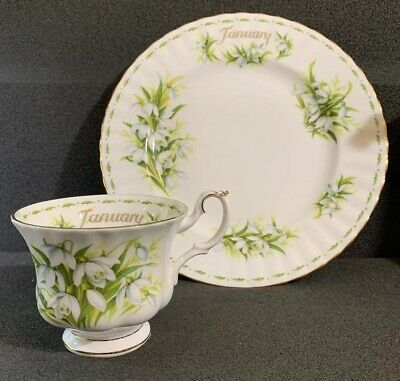 """Royal Albert Flowers Of The Month """"January"""" Snowdrops Salad Plate & Tea Cup 1970"""