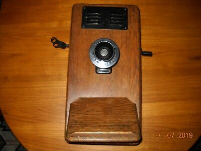 Antique Wood Wall Mount Leigh Electric Telephone, bells ring when cranked