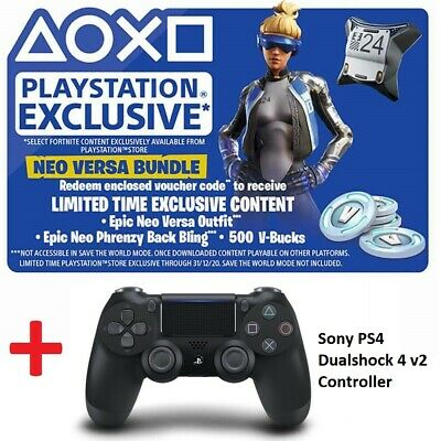 PS4 Dualshock 4 v2 Fortnite Bundle Epic Neo Versa Outfit Back Bling 500 V-Bucks
