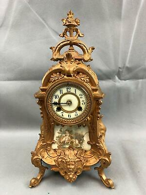 Antique French Style Waterbury Ornate Gold Gilt Mantle Clock WORKS