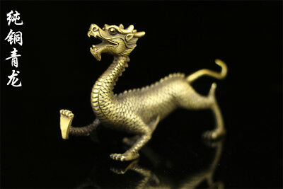 Chinese old antique brass statue hand made fengshui auspicious lucky Dragon