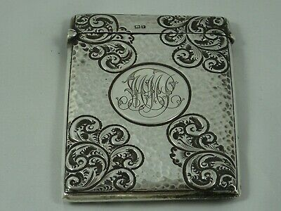 ART NOUVOU, solid silver CARD CASE, 1905, 62gm