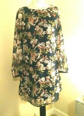 PRIMARK Navy & Pink Floral Dress With Long Sheer Sleeves [Size 10]