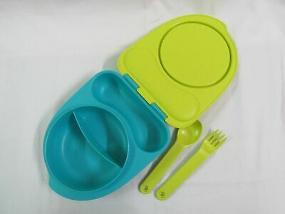 Tupperware Kids Divided Dish / Lunch Box - with Lid Incl  Forks  Holder - Set  -