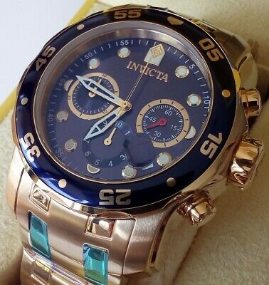 Invicta 0073 Chronograph Blue Dial 18kt Gold-plated Men's Watch