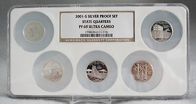 2001-S Silver Proof Set State Quarters PF 69 Ultra Cameo  5 Coin Set