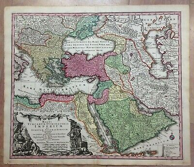 OTTOMAN EMPIRE by Matheus SEUTTER c. 1730 LARGE NICE ANTIQUE ENGRAVED MAP