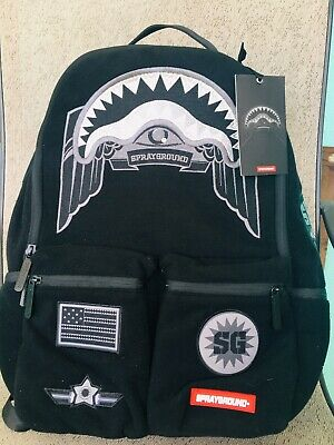Sprayground Angled Ghost Shark Unisex Canvas Backpack In Black Red