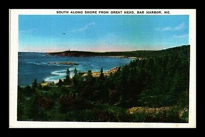 Dr Jim Stamps Us Shore View Bar Harbor Maine White Border Postcard