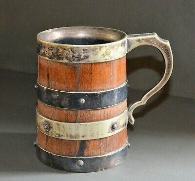 ENGLISH OAK GLASS N'  MARKED SILVER PLATED BEER TANKARD JUG EARLY 20th