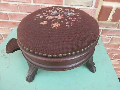 Antique Victorian Stool Whimsical Mechanical Furniture Spittoon Sewing Box Rare!