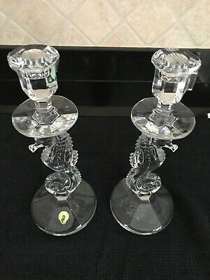 """Waterford Crystal Seahorse 1 pair of 11.5"""" Candlesticks"""