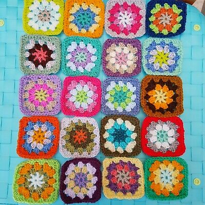 Hand crochet star middle granny squares x20 blanket wool / yarn - new