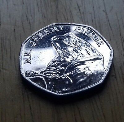 Beatrix Potter. Mr. Jeremy Fisher. Peter Rabbit. 2017 50p coin. Circulated.