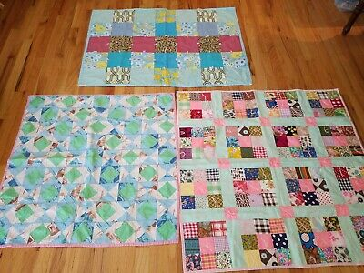 Vintage Handmade Patchwork Feedsack Small Quilts Lot of 3