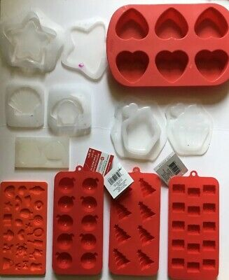 Silicone Mold Lot for Resin Crafts Hearts Christmas Star Cupcake Trinket Box