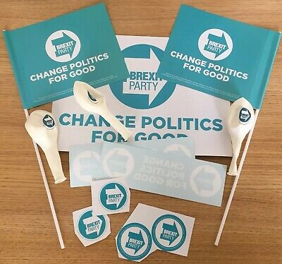 Official The Brexit Party Rally Stickers, Flags, Window Sign & Balloons Pack NEW