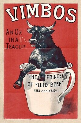 c1880 VIMBOS FLUID BEEF EXTRACT VICTORIAN FOLD-OUT ADVERTISING CARD NOT OXO
