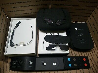 Google Glass Explorer Edition Xe-C + Xtra Frames + Ear Buds + Sun Shade Unused
