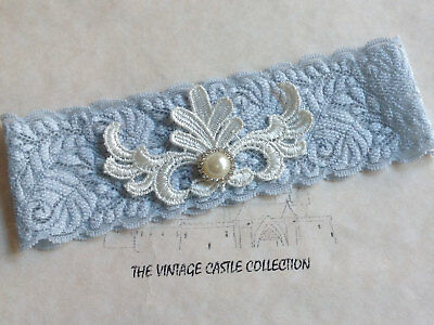 Ivory Blue Lace Single Bridal Garter Cryst Pearl Wedding accessories Embroidered