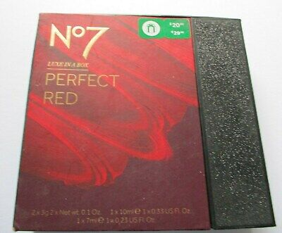 Boots No7 Perfect Red Luxe In A Box Gift Set Lips Nails Eyes Lashes Brand New