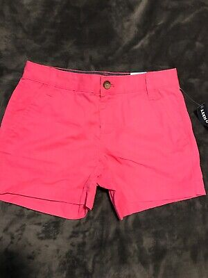 Old Navy Girls 10 Neon Hot Pink Cotton Shorts NEW NWT Bright Adjustable Waist