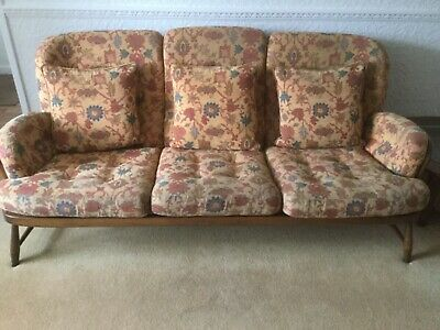 Vintage 1970s Ercol 766/3 Jubilee Golden Beech Spindle Back 3 Seater Sofa