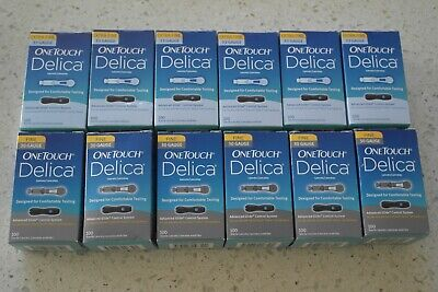 1200 One Touch Delica Sterile Lancets Extra Fine 33 & 30 Gauge New 12 x 100