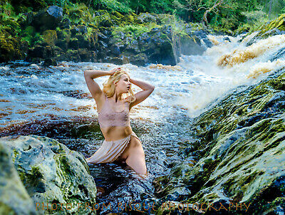 "Modern Nude Woman Standing In Stream 8.5x11"" Photo Print Naked Female In Water"
