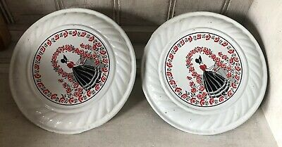 2 Antique Chimney Flue Stove Pipe Cover Floral Victorian Lady Red Black White