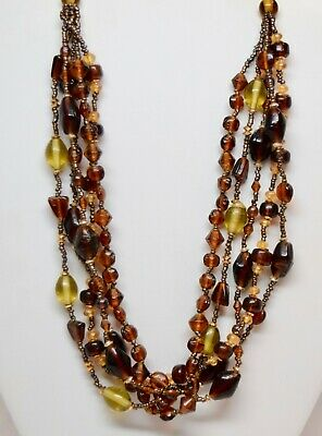 """Multi-Strand Brown Amber Glass Beaded Necklace, 18""""  5 Strands"""