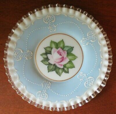 "Vintage Fenton Glass Silver Crest 8 ¼"" Hand Painted Charleston Rose Plate"