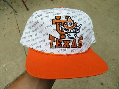 Vintage Texas Longhorns Snap Back Hat Front Row All Over Print 90s Rare
