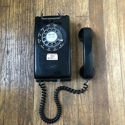 Vintage Black Wall Hang Rotary Dial Telephone  Untested Free Shipping Western
