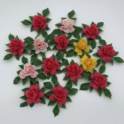 Vintage Plastic Artificial Roses for Arts and Crafts Pink Yellow